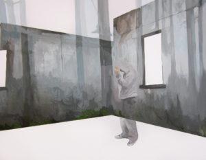Anna Caruso - la domanda non è 'dove', acrilico su tela, 90x70cm, 2013 medio